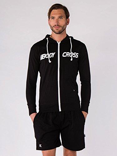 BODYCROSS Veste Zippée A Capuche Homme Bambou Noir Training, Running - Coton - Manches Longues, Cordon De Resserrage, Léger, Coupe Cintrée
