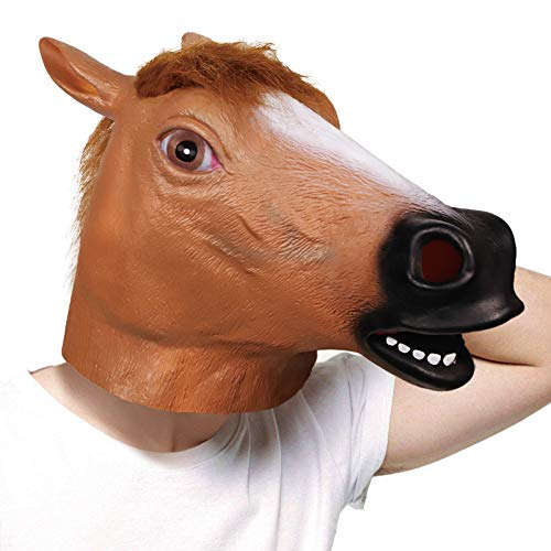 molezu Brown Horse Mask,Creepy Horse Head Mask,Rubber Latex Animal Mask,Novelty Halloween Costume Party