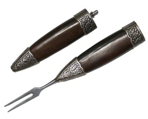 Fuhrmannsbesteck Gabel Gabelscheide versilbert für Jagdnicker Jagdmesser Messer zur Lederhose Jagd Wandern Jäger Fischen f. Hirschfänger Handarbeit Germany (ohne Messer)