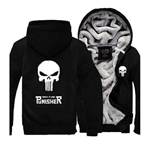 Punisher Hoodie Fuman Punisher Zip Up Pullover Cosplay Kostüm WinterJacke Black (XL)