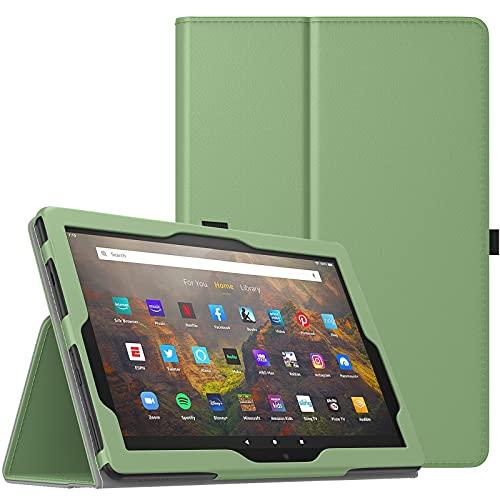"""TiMOVO Custodia Compatibile con Nuovo Fire HD 10 & Fire HD 10 Plus Tablet (10.1"""", 11a Generazione, 2021 Versione), Cover Protettiva Pieghevole con Auto Sveglia/Sonno, Verde Oliva"""