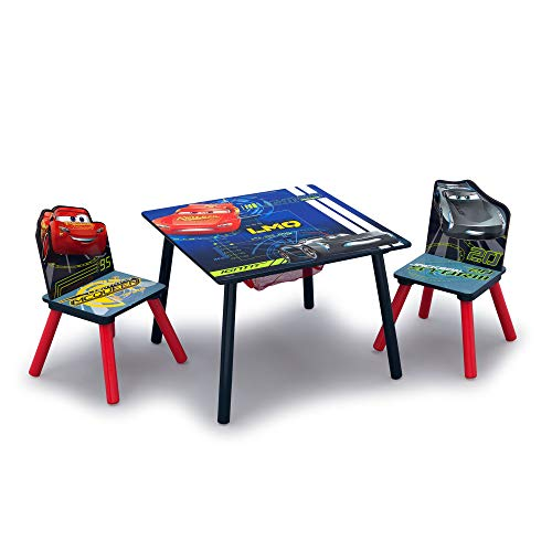 Delta Children Kids Table and Chair Set With Storage (2 Chairs Included) - Ideal for Arts & Crafts, Snack Time, Homeschooling, Homework & More, Disney/Pixar Cars
