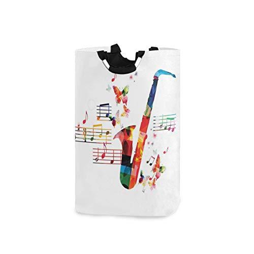 ZOMOY Multifunktionale Faltbarer Schmutzige Kleidung Wäschekorb,Buntes Saxophon Design mit Schmetterlingen und Noten kreativer Illustration,Household Wäschebox Spielzeug Organizer Aufbewahrungsbeutel