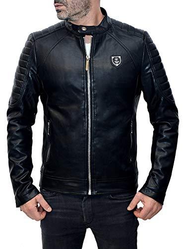 Prestige Homme Biker Jacke Leder-Optik mit gesteppten Bereichen - Bikerjacke Schwarz in Kunstleder - Größe M