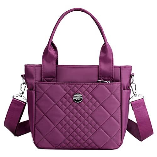Bolsa De Hombro De Nylon Para Mujer Bolso De Cuerpo Transversal Ligero A Prueba De Agua Bolso De Mano Mamá Bolsa Regalo(Size:24 * 10 * 22cm,Color:Púrpura)