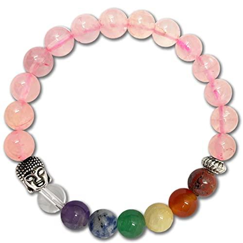 Pulsera de los 7 Chakras Piedras Preciosas Naturales de Cuarzo Rosa con Buda Pulsera elastica de curación para Mujer y Hombres Unisex para Regalos Cumpleaños (Cuarzo Rosa)