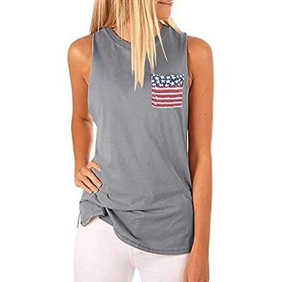 RAINED-Women's High Neck Tank Tops Sleeveless Blouse T Shirts American Flag Tank Patriotic USA Flag Racerback Tops