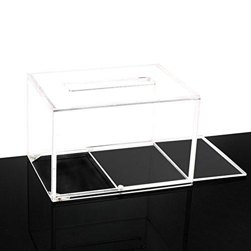 Plexiglas acryl vierkant transparant weefsel doos, vochtbestendige schimmel roll houder woonkamer badkamer toiletpapier houder Box-A 16x12x10.5cm (6x5x4inch)