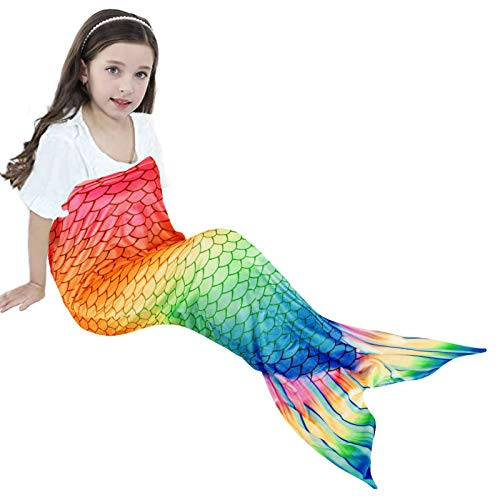 XFVSDXS Kids Mermaid Tail Blanket for Girls Chlidren Sleeping Bag Cozy Soft Flannel Fleece Colorful Rainbow Fish Scale Design(Colorful#1