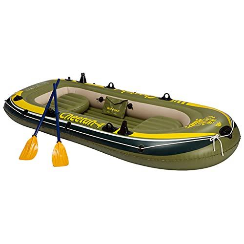 Plegable Kayak, 4 Persona Kayak Inflable Conjunto con el Barco Inflable, Dos remos de Aluminio y el Motor eléctrico, Apto para Pesca en el océano y el Lago