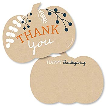 Big Dot of Happiness Happy Thanksgiving - Shaped Thank You Cards - Fall Harvest Party Thank You Note Cards with Envelopes - Set of 12