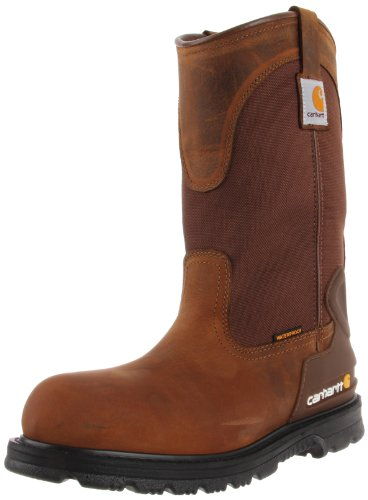 Carhartt Men's Wellington Waterproof Steel Toe Leather Pull-On Work Boot CMP1200, Bison Brown, 11 M US