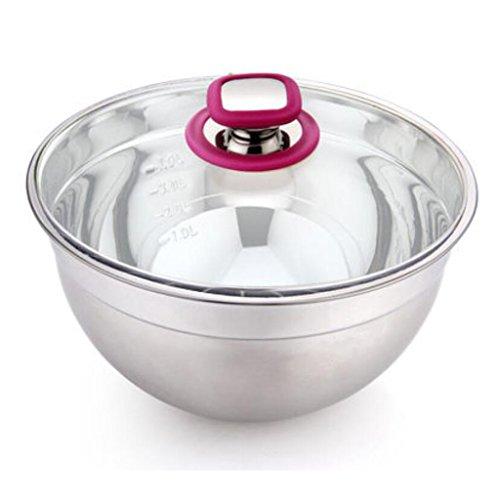 Liuyu Kitchen Home Bac à mitir en bassin en acier inoxydable 304 Bassin à soupe ronde plus épais avec couvercle Pots à la salade (taille : 28cm)
