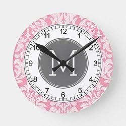 daoyiqi 15 Inch Wall Clock, Pastel Pink & Gray Damask Pattern Custom Monogram Round Clock, Silent Non Ticking Quality Quartz Wood Clock for Bedroom, Living Room Home Decor