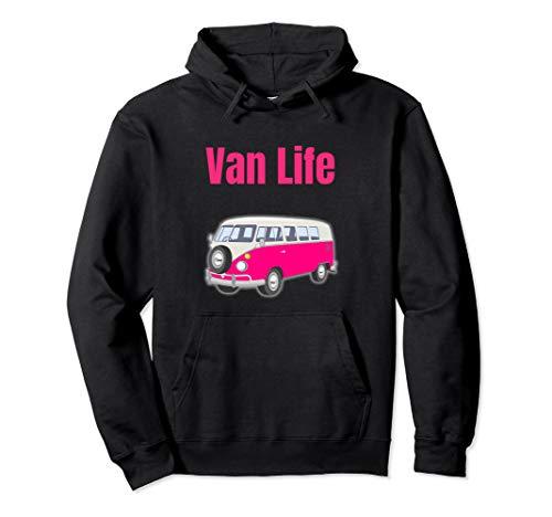 Van Life Pink Bus Pullover Hoodie