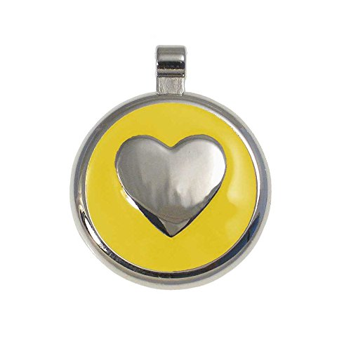 LuckyPet Heart Jewelry Pet ID Tag for Cats and Dogs, Personalized Engraving on The Back Side, Small Yellow Heart
