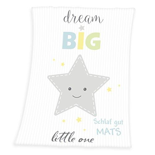 Wolimbo Flausch Babydecke mit Ihrem Wunsch-Namen und Stern Motiv - personalisierte/individuelle Geschenke für Babys und Kinder zur Geburt, Taufe und Geburtstag - 75x100 cm