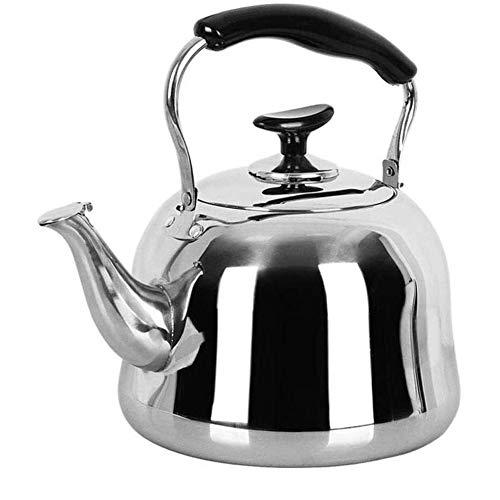 TQJ Teteras para te Acero Inoxidable Silbar Moderna Cocina de quemadores Calderas, Acero Inoxidable del pote del té, manija Anti-escaldar, inducción de cocción, Cocina de Gas Tetera Hierro Fundido