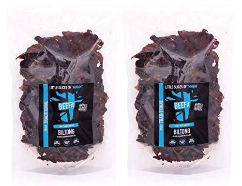 BEEFit Snacks 1kg Traditionelle Biltong, Hohes Protein, Gesund, Wenig Zucker, Nicht Beef Jerky...