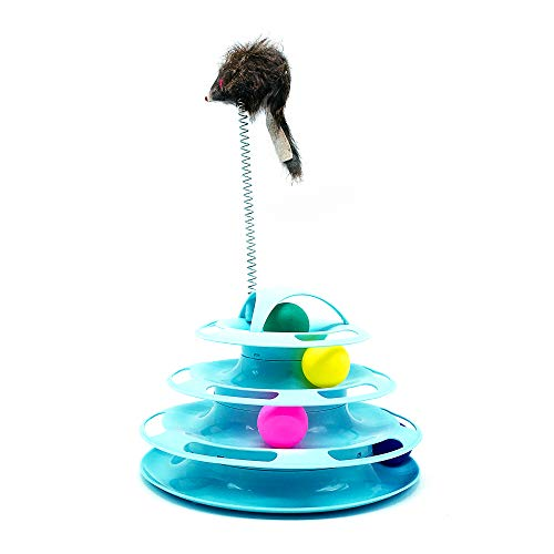 Juguete Gato Interactivo Juguetes para Gatos con Diseño Torre con 4 Pelotas de 4 Niveles Antideslizante y facil de Desmontar Divertido (Azul)