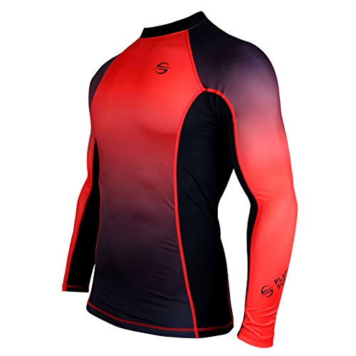 Mens Rash Guard Long Sleeve Surf Shirt Swimsuit - Quick Dry Sun Protection Clothing UPF 30+ (Red, L)