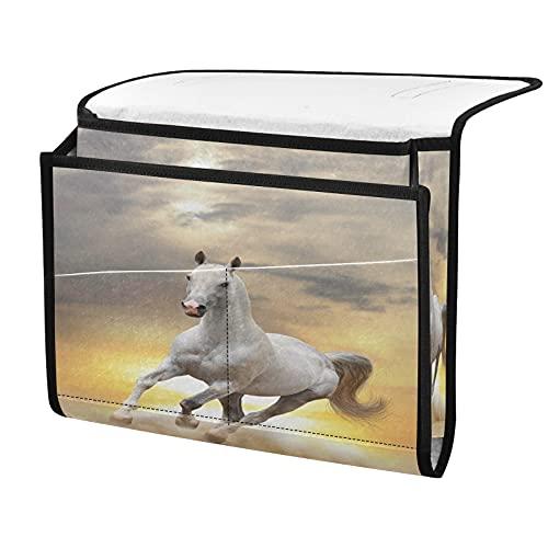 Organizador de almacenamiento para mesilla de noche, color blanco, puesta del sol, junto a la caja, organizador de almacenamiento para mandos a distancia gafas de teléfono