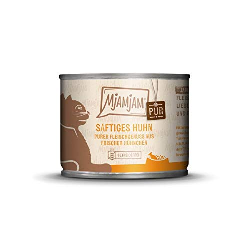 Katzen Nassfutter: purer Fleischgenuss - saftiges Hühnchen pur - 6er-Pack, hoher Fleischanteil