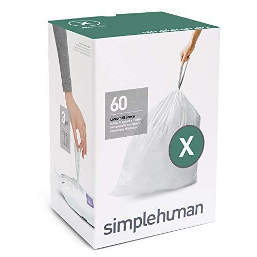 simplehuman Code X Custom Fit Drawstring Trash Bags, 80 Liter / 21 Gallon, 3 Refill Packs (60 Count)