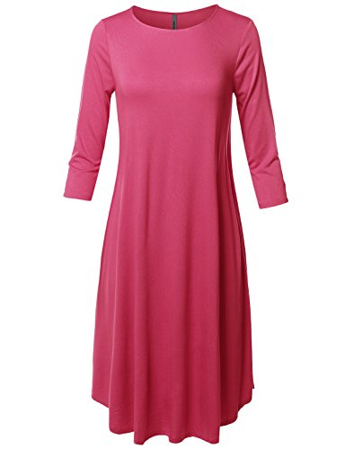 Missy Casual Loose Fit Solid Viscose 3/4 Sleeve Round Neck Midi Dress Fuchsia L