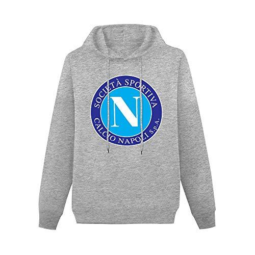 Napoli SSC Retro Crest Pullover Sudaderas Clásico Sudaderas Sudaderas con Capucha Bolsillo Canguro Gris 2XL
