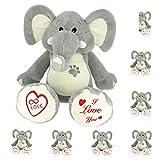 Elefante de peluche para regalo con frase original de 25 cm - Regalos para hombre y mujer - Regalos para amigas originales (02. I LOVE YOU)