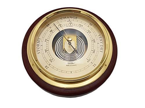 Fischer Instruments 1434B-22-B Mahogany Wood and Brass Marine Barometer