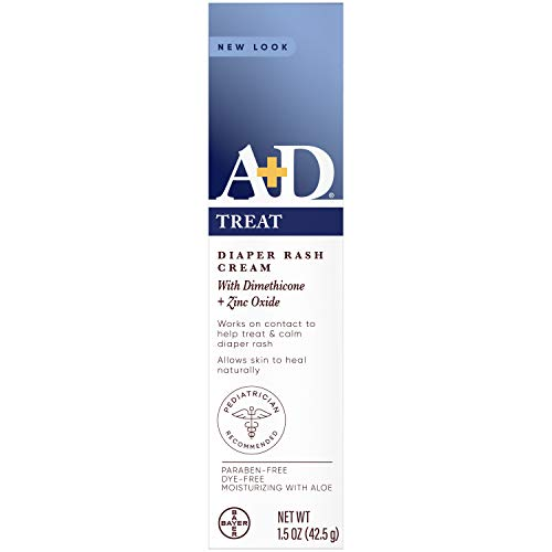AD Zinc Oxide Diaper Rash Treatment Cream Dimenthicone 1% Zinc Oxide 10% Easy Spreading Baby Skin Care 15 Ounce Tube Packaging May Vary