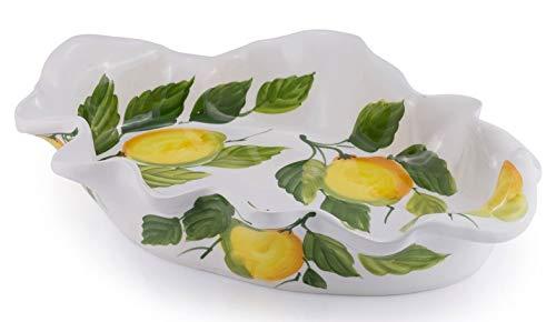 Bassano Zitronen Obstschale Ausgefallene italienische Keramik bemalt 36x25