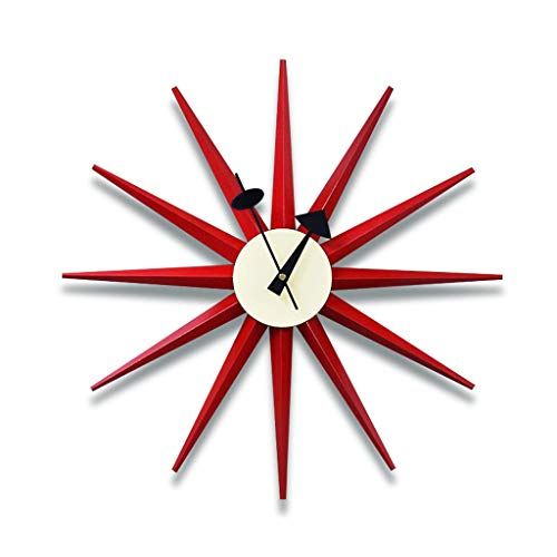 YYL Nelson clock Nelson Clock, Red Wooden and Metal Clock Modern Silent Battery Operated Wall Clock Pop Color Quartz Clocks, for Home,18.8inch