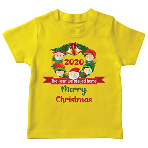 lepni.me Camiseta para niños con texto en inglés Merry Christmas in Quarantine 2021 Stay at Home Together for Christmas Holidays