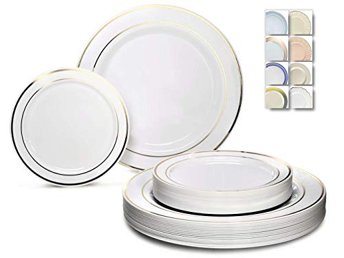 OCCASIONS 240 Plates Pack,(120 Guests) Heavyweight Premium Wedding Party Disposable Plastic Plates Set -120 x 10.5 Dinner + 120 x 7.5 Salad/Dessert (White & Gold Rim)