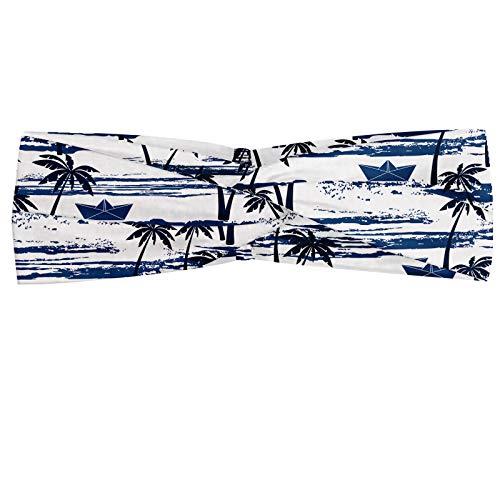 ABAKUHAUS Palme Halstuch Bandana Kopftuch, Hawaii-Muster mit Papier Booten auf Worn Meer Wellen Küste Kunstwerk, Elastisch und Angenehme alltags accessories, Blau Dunkelblau Weiß