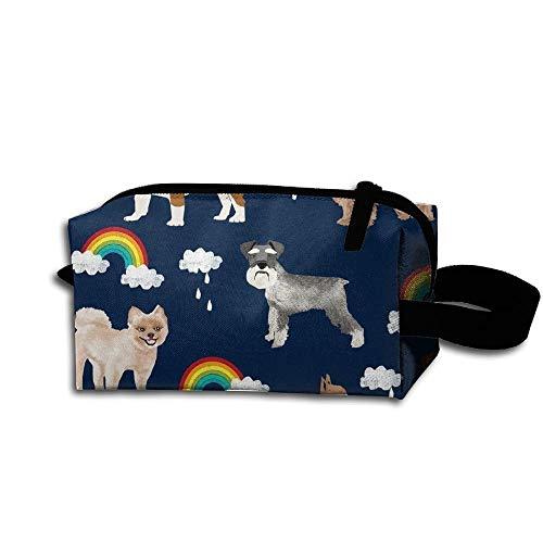Travel Makeup Rainbows and Dogs Beautiful Waterproof Cosmetic Bag Quick Makeup Bag Pencil Case