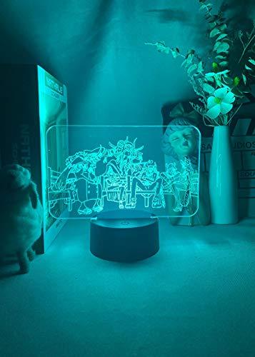 MDJK - Luz nocturna LED 3D, diseño de anime One Piece Pirates Tobiroppo para niños, decoración de habitación LED, manga 3D, lámpara de mesa, atmósfera de luz, regalo de Navidad, 16 colores