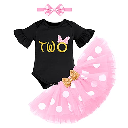 FYMNSI Conjunto de ropa de 3 piezas para bebé o niña, de algodón, de manga corta, con tutú y cinta para la cabeza, para el segundo cumpleaños Rosa + negro. 2 Años