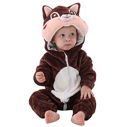 MICHLEY Disfraz Animal Bebe niño y niña Body Pijama Ropa, marrón 13 a 18 Meses