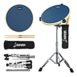 LAGRIMA Drum Practice Pad with Snare Drum Stand Kit, 12 Inches Double Sided Silent Drum Pad with Drumsticks & Storage Bag for Beginner/Adults,Blue