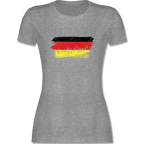Fussball EM 2021 Fanartikel - Deutschland Vintage - M - Grau meliert - Handball wm Shirt Damen Vintage - L191 - Tailliertes Tshirt für Damen und Frauen T-Shirt