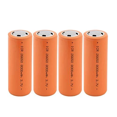HTRN Batería De Iones De Litio De 3.7v 8000mah 26650, Batería Recargable para La Batería De La Linterna 4PCS