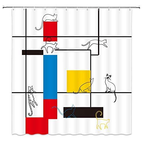 KUKUALE Patrón Azul Pintura Moderna Abstracta en Mondrian Colorida Bauhaus Cortina de Ducha de Tela de poliéster Impermeable 180X180CM (71X71IN)