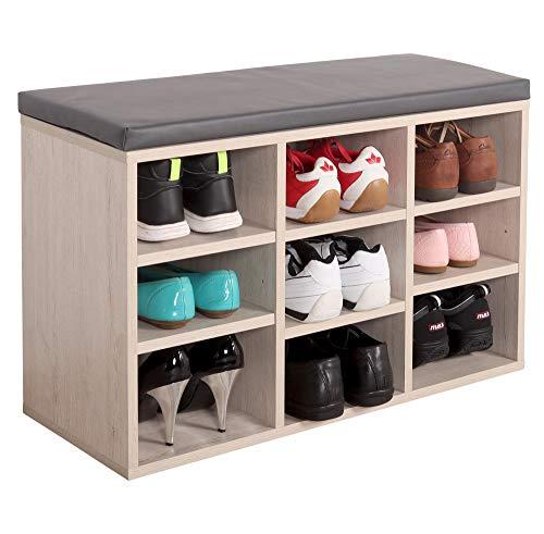 RICOO WM035-EP-A Banco Zapatero 79x49x30 Armario Interior con Asiento Organizador Zapatos Mueble recibidor Perchero Entrada Madera Roble marrón
