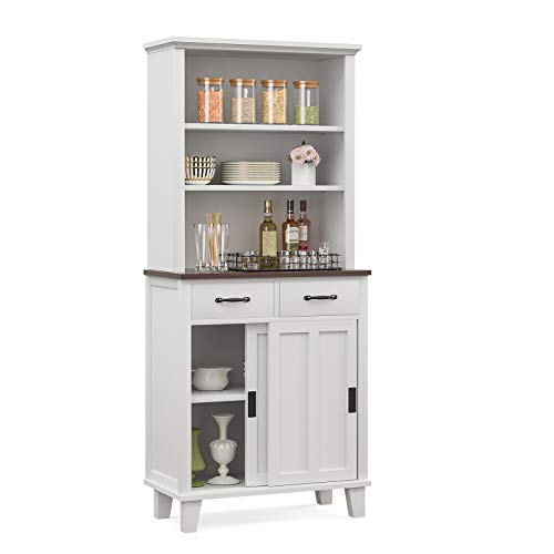 mecor Kitchen Pantry Storage Cabinet, Free Standing Sideboard Buffet Hutch w/Glass Doors, 2 Cabinet and Adjustable Shelves, White