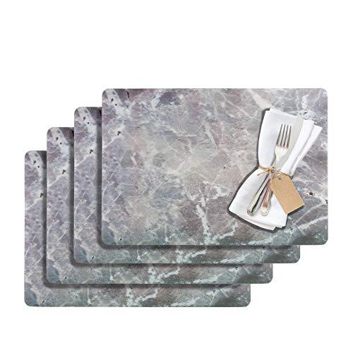 Westmark Tischsets/Platzsets, 4 Stück, 43,5 x 30 cm, PET, Grau, Saleen Edition: Marmor