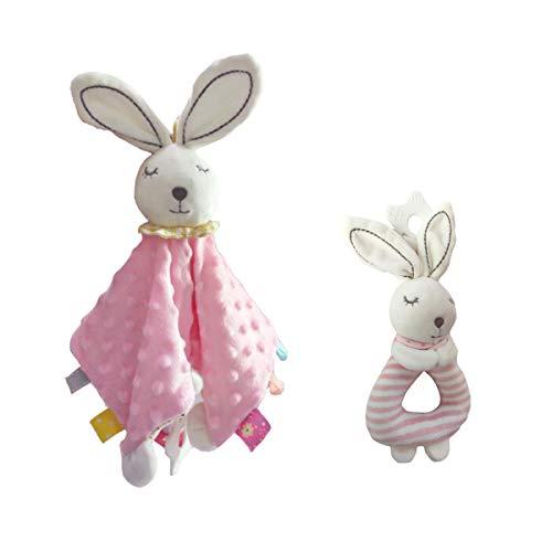 Couverture de sécurité pour bébé, Hochet - Super Soft Couverture de Tag avec Teether, Intéressant peluche Anneau Rattle, couverture enfant en bas âge Taggy, rabbity Toy Set meilleur cadeau pour bébé